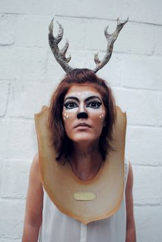 Taxidermy deer head DIY Halloween costume.