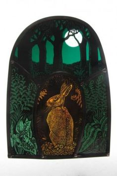 The Golden Hare  by Tamsin Abbott  Painted, Engraved Stained Glass