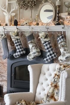 Pattern and Tutorial for Fur and Flannel Stockings - easy! | Easy Stocking Tutorial | FREE Stocking Pattern from @girlinspired | Christmas Mantel Ideas | Fur Stocking