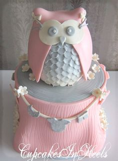 Cupcakes In Heels - Baby Shower Pink & Gray Owl Cake - Bayside, NY, United States