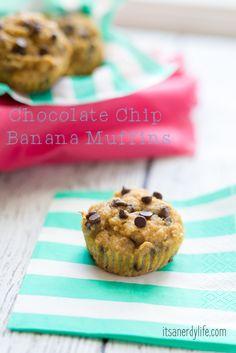 Chocolate Chip Banana Muffins | Paleo + Gluten Free http://itsanerdylife.com/chocolate-chip-banana-muffins-paleo-gluten-free/