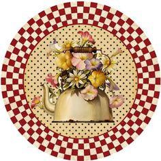 Decoupage Printables, Napkin Decoupage, Printed Napkins, Food Illustrations, Round Stickers, Paper Cutting, Tea Time, Tea Pots, Decorative Plates