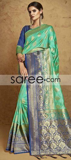 SEA GREEN BANARASI SILK SAREE WITH ZARI #Saree #GeorgetteSarees #IndianSaree #Sarees #SilkSarees #PartywearSarees #RegularwearSarees #officeWearSarees #WeddingSarees #BuyOnline #OnlieSarees #NetSarees #ChiffonSarees #DesignerSarees #SareeFashion