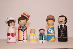 Mary Poppins Wooden Peg Dolls by scrawnynoggin on Etsy, $45.00