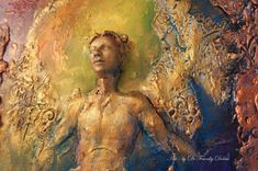 COMMISSION Rainbow Angel, Wall Sculpture, by Award Winning Fae Factory Clay Relief Artist, Dr Franky Dolan (clay relief & canvas painting)