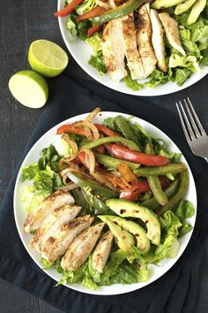 Skinny Chicken Fajita Salad is a recipe you'll use over and over again. This salad is ready in under 15 minute making it the perfect quick healthy lunch or dinner option.