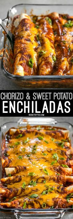 These award winning Chorizo and Sweet Potato enchiladas have a perfectly balanced sweet and spicy flavor that will leave you wanting more. @budgetbytes