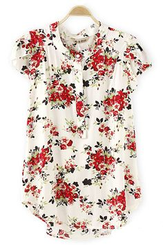 """Such a pretty floral print. """"Short Sleeves Casual Sweet Floral Print Blouse would look awesome with dark wash skinny jeans and flats"""" Looks Style, Style Me, Simple Style, Look Fashion, Womens Fashion, Business Outfit, Printed Blouse, Floral Blouse, Floral Tops"""