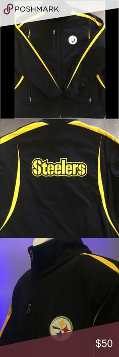 Pittsburgh Steelers Jacket Official NFL Gear Size 3XL 96% Polyester 4% Spandex stitched Logos Good Condition with Normal Wear NFL Jackets & Coats