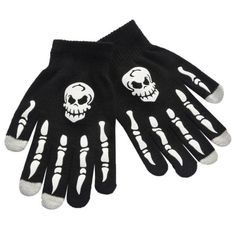 Adults Skeleton Gloves 3D Bones Hands Mens Womens Skull Hand Costume CF