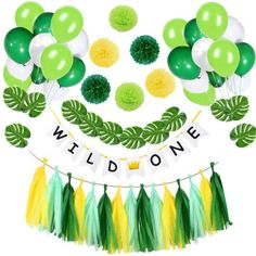 This Wild One Birthday Party Decoration set includes:  Wild one banner: 1pc  20*18cm monstera leaves:12pcs  12-inch latex balloons: 30pcs  10-inch paper pom poms:6pcs  25*35cm tissue paper tassel garland: 15pcs  Each customer will get a free balloon pump as the sample picture shown in the party