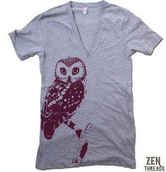 Unisex URBAN OWL Deep V-Neck american apparel T Shirt  XS  S  M  L (11 Color Options). $20.00, via Etsy.