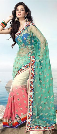 Sea #Green, #Cream and Light Peach Net #Saree with Blouse @ $140.08