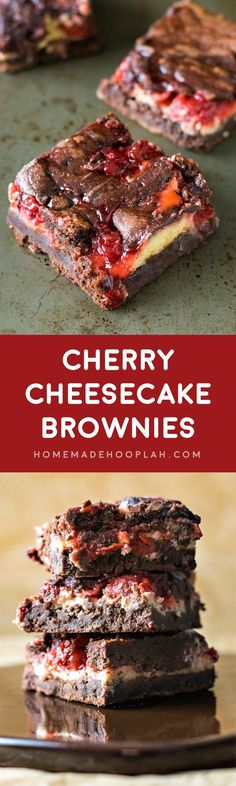 Cherry Cheesecake Brownies! The ultimate brownie recipe baked with swirls of cheesecake and cherry pie filling. An ultra decadent dessert for chocolate cherry lovers!   HomemadeHooplah.com