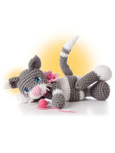 """Crochet cat design included in the crochet pattern book """"Animal Amigurumi to Crochet"""" available at Anniescatalog.com."""