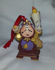 Disney Store Cogsworth And Lumiere Christmas Ornament Beauty & The Beast