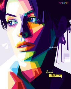 Anne hathaway in wpap By. Pop Art Portraits, Portrait Art, Poster Color Painting, Pop Art Artists, Polygon Art, Pop Art Design, Kendo, Anne Hathaway, Dark Fantasy Art