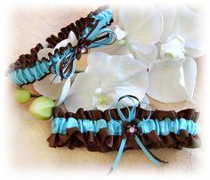 Bridal Garters Something Blue Tiffany Blue Chocolate by All4Brides, $30.00