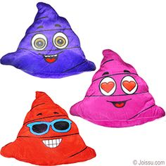 LARGE COLORFUL PLUSH POO EMOJIS. With adorable emoji smiley faces imprinted on super-soft velour emoji poo. Assorted styles and colors. Perfect for gag gifts. Size 14 Inches