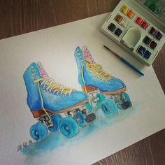 Art & Roller Skates. It's a pretty good representation of my life right now. #drawing #art #rollerskates #watercolors #paint #watercolorpainting #rollerderby #windsorandnewton #houstonartist by alicalidesigns