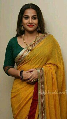 Vidhya Balan Saree with Three forth sleeve blouse Indian Attire, Indian Ethnic Wear, Indian Outfits, Saree Blouse Neck Designs, Blouse Patterns, Formal Saree, Sari Dress, Saree Look, Elegant Saree
