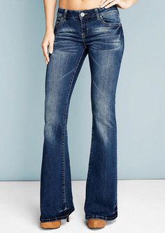 Revolt Fray Hem Flare - Plus Size Jeans - Alloy Plus - Alloy