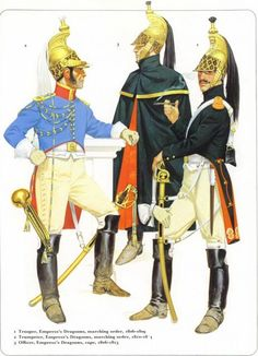 1-Trooper,Empress's Dragoons marching order 1806-09 2-Trumpeter, Empress's Dragoons,marching order 1810_12 3_Officer,Empress's Dragoons,cape 1806-13