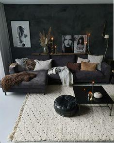 Vegen op de muur | zelf een betonlook maken | Marrakech Walls Dark Living Rooms, Living Room Decor Cozy, Boho Living Room, Modern Living, Small Living, Cozy Living, Masculine Living Rooms, Living Room Ideas Dark Couch, Black Living Room Furniture