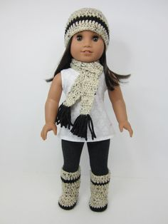 American girl doll clothes- 3 pc crochet beanie hat, scarf and slipper booties by JazzyDollDuds on Etsy.