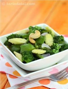 Broccoli and baby corn together make an interesting combination because they complement each other in appearance as well as taste. The cashewnuts add an element of crunch to this exciting mixture of vegetables.