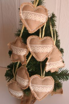 rustic christmas 60 Burlap Christmas Decorations To Bring in that Rustic Christmas Vibe in a Jiffy - Hike n Dip Burlap Christmas Decorations, Burlap Ornaments, Rustic Christmas Ornaments, Farmhouse Christmas Decor, Christmas Mood, Handmade Christmas, Christmas Wreaths, Christmas Ideas, Hanging Ornaments