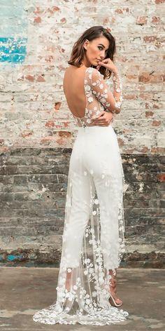 Trend 2018: 24 Wedding Pantsuit & Jumpsuit Ideas ❤ wedding pantsuit ideas open back long sleeves with train rime arodaky 2 ❤ See more: http://www.weddingforward.com/wedding-pantsuit-ideas/ #weddingforward #wedding #bride #weddingdress