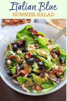 """An """"Italian Blue"""" Salad - mixed greens served with blue cheese, honey roasted pecans, fresh blueberries and a homemade apricot vinaigrette dressing. If you like fruit in your salad, you will love this creative spin on a fresh summer salad. Vegetarian, gluten-free. Vinaigrette Dressing, Dressing Recipe, Salad Recipes, Healthy Recipes, Vegetarian Recipes, Free Recipes, Healthy Meals, Easy Meals, Honey Roasted Pecans"""