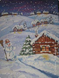 Картина панно рисунок Мастер-класс Новый год Рисование и живопись Два рисунка на зимнюю тему с использованием разных нетрадиционных техник Бумага Гуашь Крупа фото 30