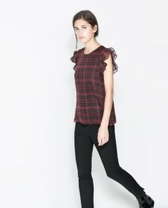 Image 2 of CHECKED TOP WITH FRILL SLEEVE from Zara