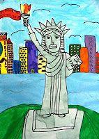 Deep Space Sparkle – Statue of Liberty Art Lesson 3rd Grade Art Lesson, 6th Grade Art, Deep Space Sparkle, Classroom Art Projects, Art Classroom, Elementary Art Rooms, Voyage New York, American Symbols, American Art