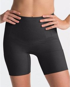 7151d591913be NWT SPANX SS6615 OnCore Mid-Thigh Tummy Waist Shaping Shorts BLACK V. SIZES