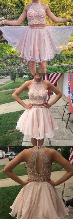 2017 short two piece prom dress homecoming dress, short pink prom dress homecoming dress, backless party dress