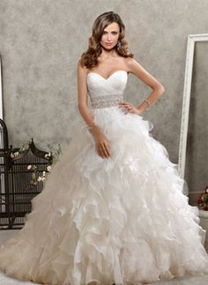 Attractive A-Line/Princess Sweetheart Chapel Train Organza Satin Wedding Dresses With Ruffle Beadwork (002004753) - $262.99