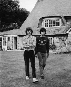 Mick Jagger and Keith Richards of The Rolling Stones at Keiths' Sussex house after being convicted for drug violations in 1967Photo by Hulton Archive