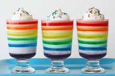 """For quite some time I've had THE rainbow cake on my """"to bake"""" list, but so far I haven't found the time or right excuse to make it.But afterthe ridiculously weird and rainyweather recently,I just needed to make something fun and colorful. So I headed to the store, and bought six boxes of jello and …"""