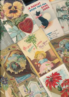 Nice! Vintage/Antique Lot of 1900's Holiday/Greetings Postcards- 25 Cards--a255 #HolidaysGreetings