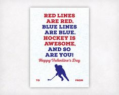 Printable Kids Valentine Card Hockey Valentines by SweetPeonyPress Kinder Valentines, Valentines For Boys, Birthday Gifts For Boyfriend, Valentine Day Cards, Boyfriend Gifts, Happy Valentines Day, Valentine Ideas, Valentines Art, Valentine's Cards For Kids