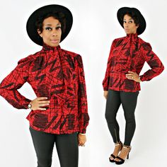 vintage 80s red SILK jacquard pussy BOW scribbles abstract secretary blouse size S/M by PasseNouveauVintage, $32.00