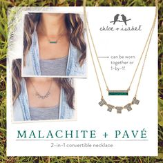 Wear together or 1-by-1! Shop our Malachite + Pavé Convertible Pendant on my c+i boutique!