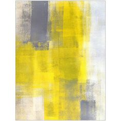 Simple Squares Grey and Yellow Abstract Art by Eazl, Size: 18 x 24