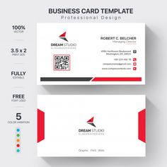 Modern business cards template with 5 color variation Free Vector Free Printable Business Cards, Make Business Cards, Professional Business Card Design, Letterpress Business Cards, Modern Business Cards, Custom Business Cards, Visiting Card Design, Name Card Design, Photoshop