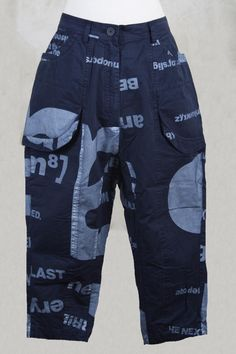 Cropped Utility-Like Trousers in Blueberry Print - Rundholz Black Label