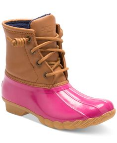 She'll splish-splash through wet-weather in style in these classic Sperry lace-up duck boots.   Synthetic upper; rubber sole   Wipe clean   Imported   Lace-up closure   Contrast at upper   Lined   Web