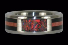 Red Lab Opal Titanium Ring Band with Blackwood and Pink Ivory